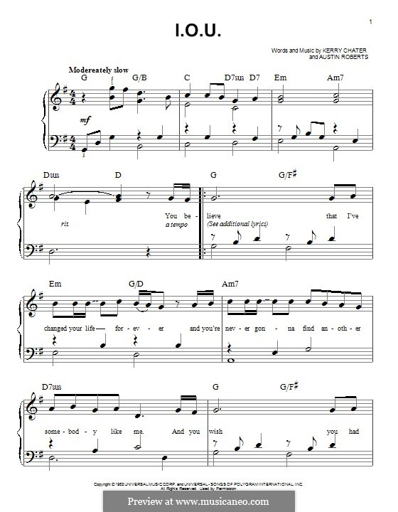 I.O.U. (Lee Greenwood): For piano by Austin Roberts, Kerry Chater