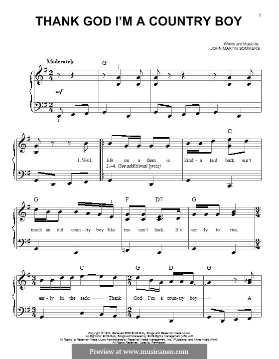 Thank God I'm a Country Boy: For piano by John Martin Sommers