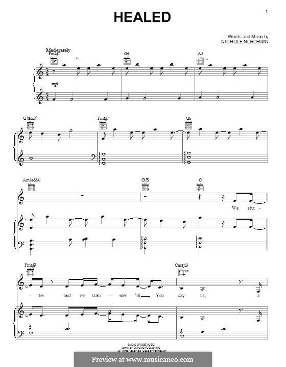 Healed: For voice and piano (or guitar) by Nichole Nordeman