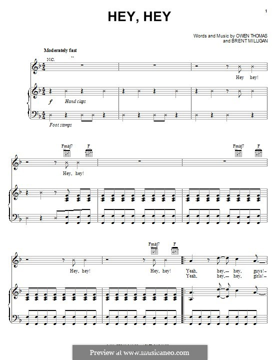 Hey, Hey (The Elms): For voice and piano (or guitar) by Owen Thomas, Brent Milligan