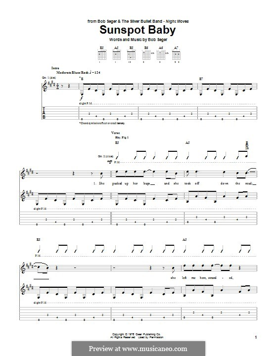 Sunspot Baby by B. Seger - sheet music on MusicaNeo