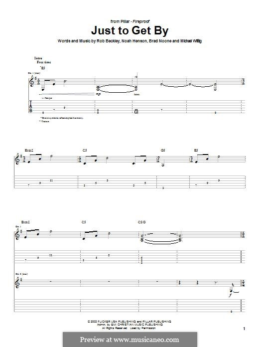 Just To Get By (Pillar): For guitar with tab by Noah Henson, Rob Beckley, Brad Noone