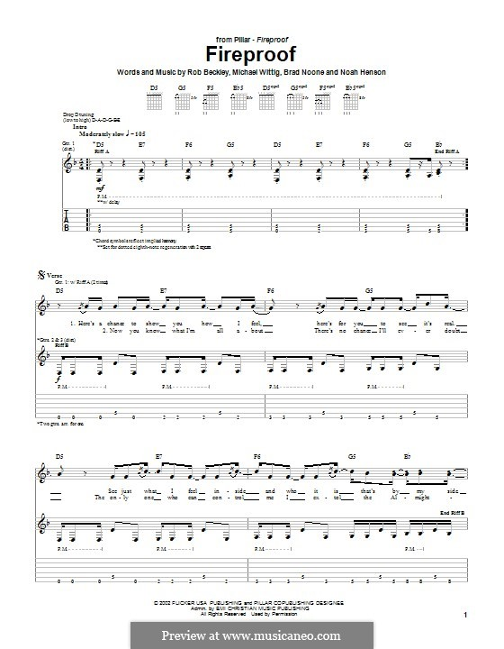 Fireproof (Pillar): For guitar with tab by Rob Beckley, Brad Noone, Michael Wittig
