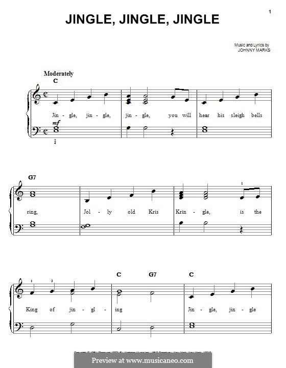 Jingle, Jingle, Jingle: For piano by Johnny Marks