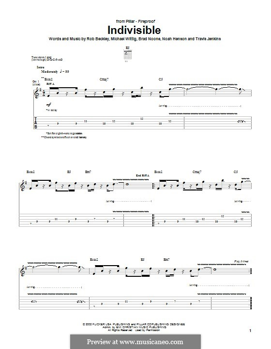 Indivisible (Pillar): For guitar with tab by Noah Henson, Rob Beckley, Brad Noone, Michael Wittig