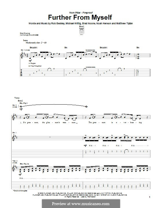Further from Myself (Pillar): For guitar with tab by Noah Henson, Rob Beckley, Brad Noone, Michael Wittig
