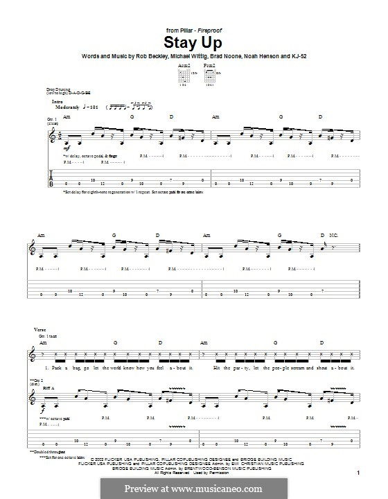 Stay Up (Pillar): For guitar with tab by Rob Beckley, Brad Noone, Michael Wittig
