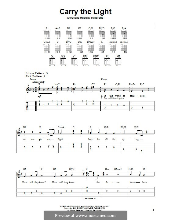 Carry the Light: For guitar with tab by Twila Paris