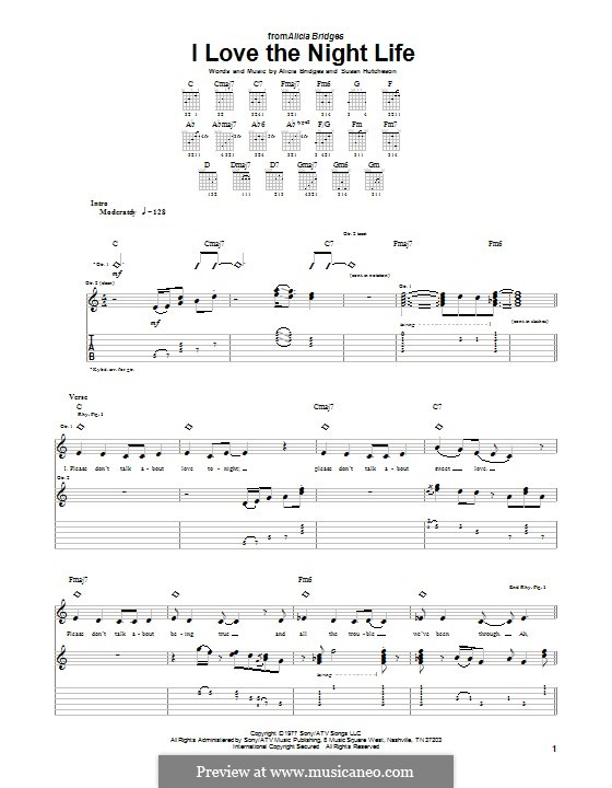 I Love the Night Life: For guitar with tab by Alicia Bridges, Susan Hutcheson