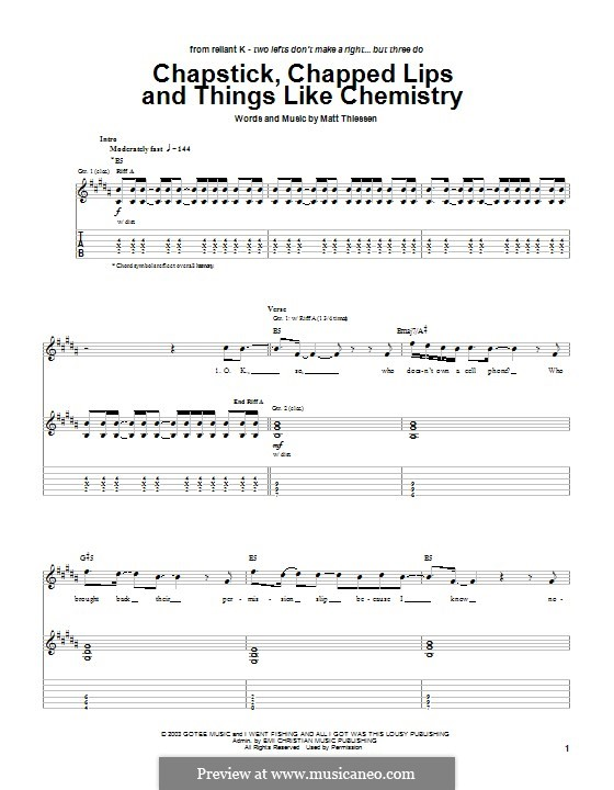 Chapstick, Chapped Lips and Things Like Chemistry (Relient K): For guitar with tab by Matt Thiessen
