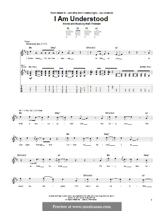 I am Understood (Relient K): For guitar with tab by Matt Thiessen