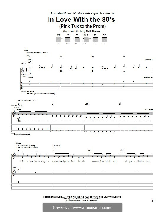 In Love with the 80's (Pink Tux to the Prom): For guitar with tab by Matt Thiessen