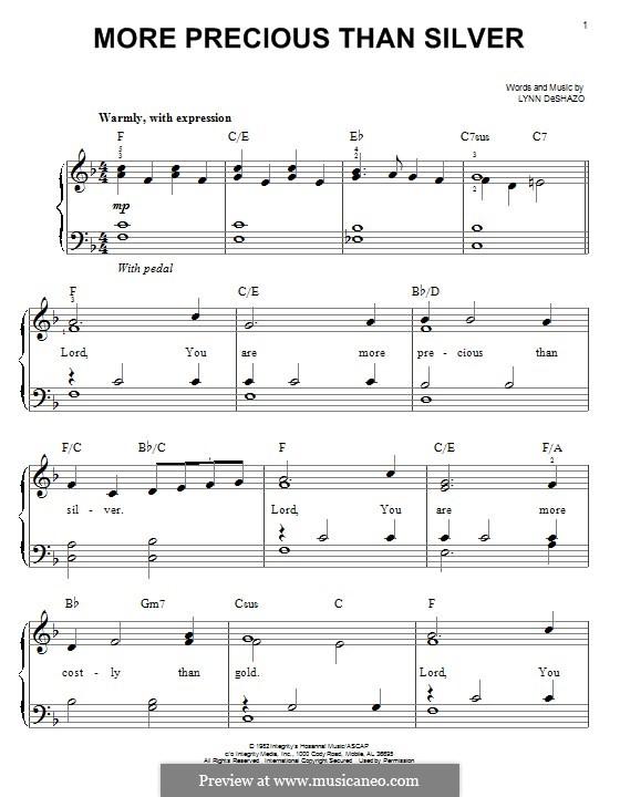 More Precious Than Silver: For piano by Lynn DeShazo