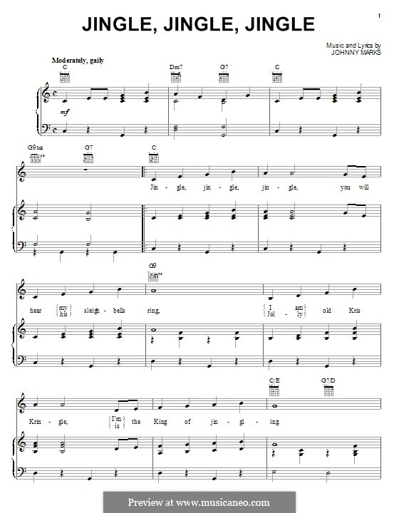 Jingle, Jingle, Jingle: For voice and piano (or guitar) by Johnny Marks