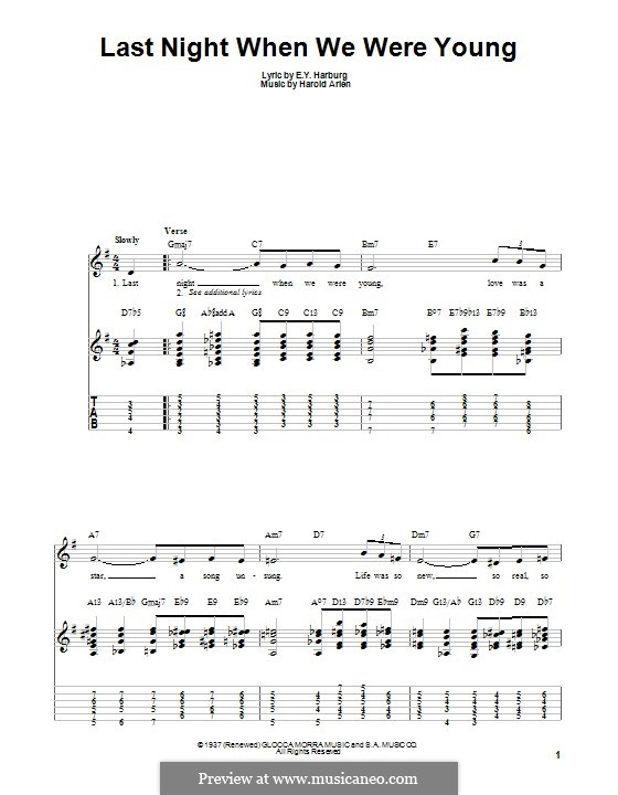 Last Night When We Were Young (Frank Sinatra): For guitar with tab by Harold Arlen