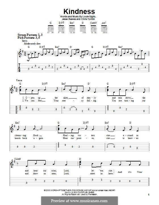 Kindness: For guitar with tab by Chris Tomlin, Jesse Reeves, Louie Giglio