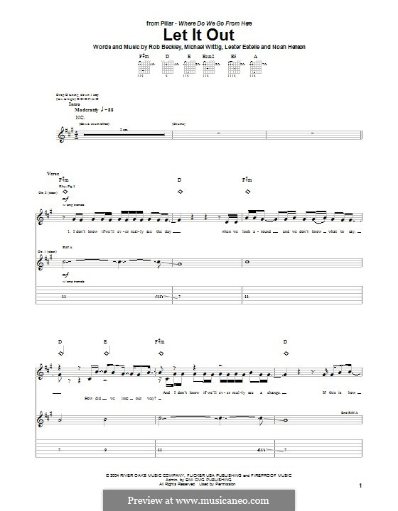Let It Out (Pillar): For guitar with tab by Noah Henson, Rob Beckley, Michael Wittig, Lester Estelle