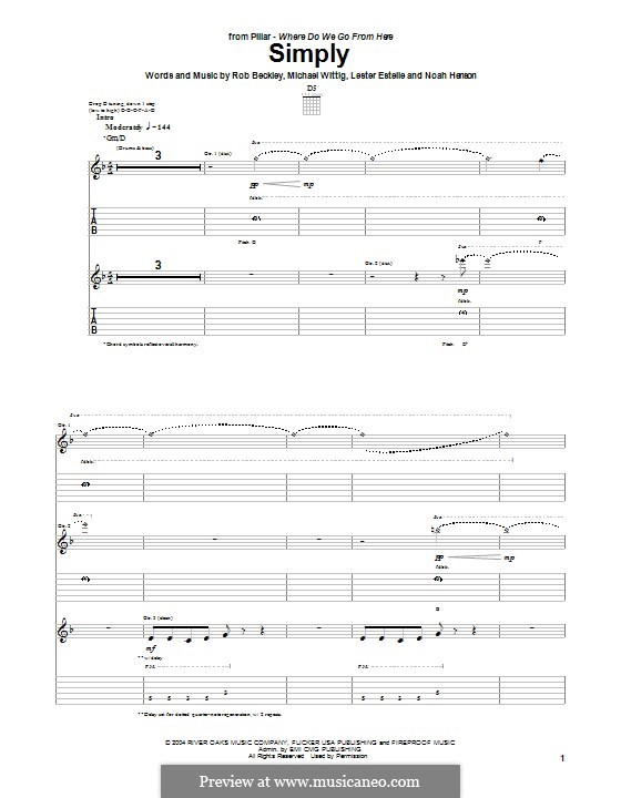 Simply (Pillar): For guitar with tab by Noah Henson, Rob Beckley, Michael Wittig, Lester Estelle