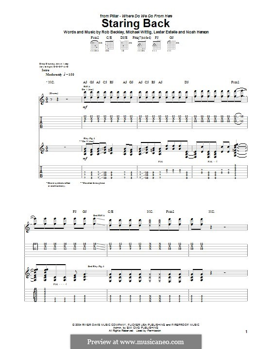 Staring Back (Pillar): For guitar with tab by Noah Henson, Rob Beckley, Michael Wittig, Lester Estelle