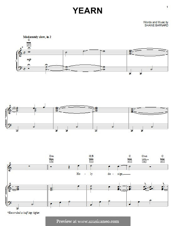 Yearn (Shane & Shane): For voice and piano (or guitar) by Shane Barnard