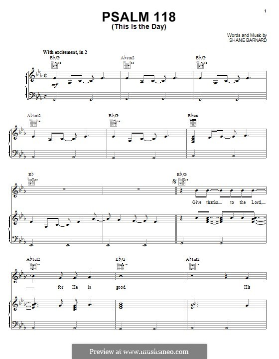 Psalm 118 (This is the Day): For voice and piano (or guitar) by Shane Barnard