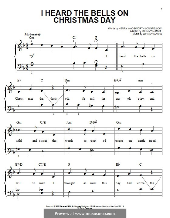 I Heard the Bells on Christmas Day: For piano by Johnny Marks