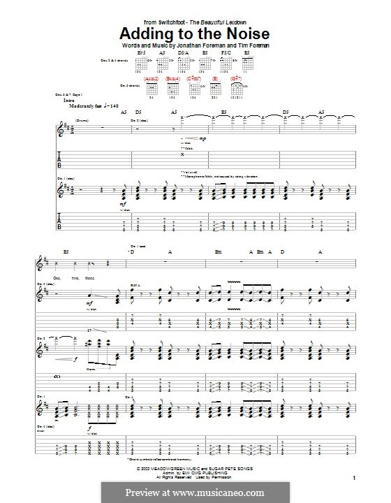 Adding to the Noise (Switchfoot): For guitar with tab by Jonathan Foreman, Tim Foreman