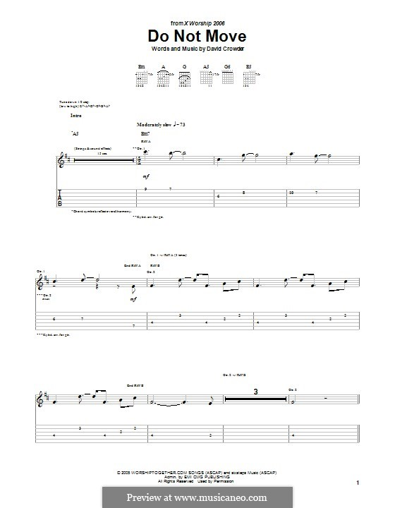Do not Move (David Crowder Band): For guitar with tab by David Crowder