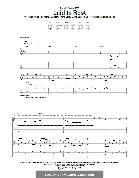 Laid to Rest (The Showdown): For guitar with tab by Richard Hall, David Bunton, Travis Bailey, Eric Koruschak, Joshua Childers