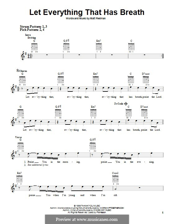Let Everything That Has Breath: For guitar with tab by Matt Redman
