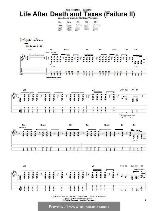 Life After Death and Taxes (Failure II) (Relient K): For guitar with tab by Matt Thiessen