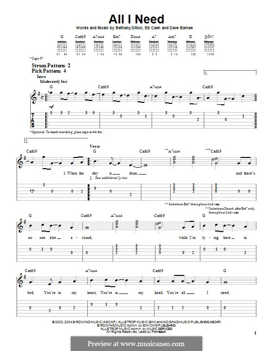 All I Need: For guitar with tab by Ed Cash, Dave Barnes, Bethany Dillon