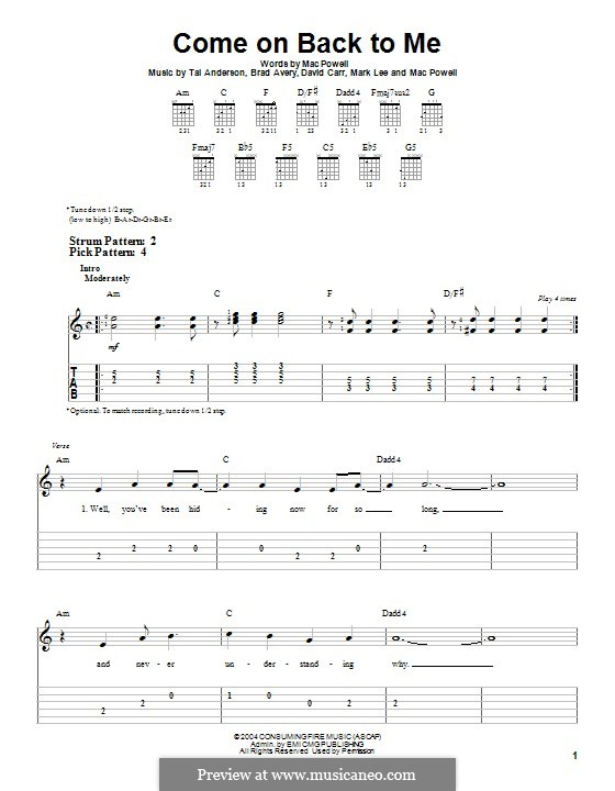Come on Back To Me (Third Day): For guitar with tab by Brad Avery, Tai Anderson, David Carr, Mac Powell, Mark Lee
