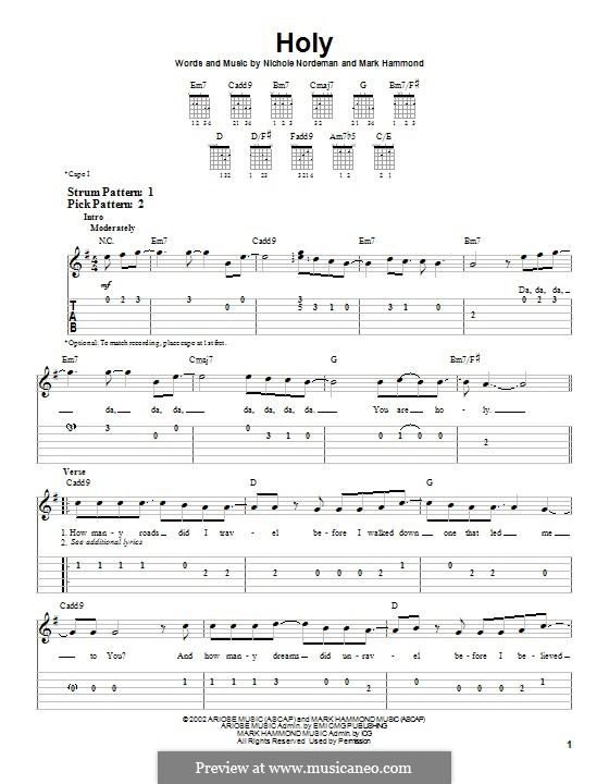 Holy: For guitar with tab by Mark Hammond, Nichole Nordeman