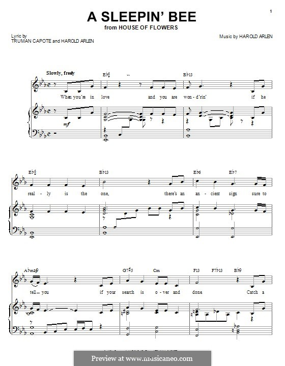 A Sleepin' Bee: For voice and piano or guitar (Barbra Streisand) by Harold Arlen