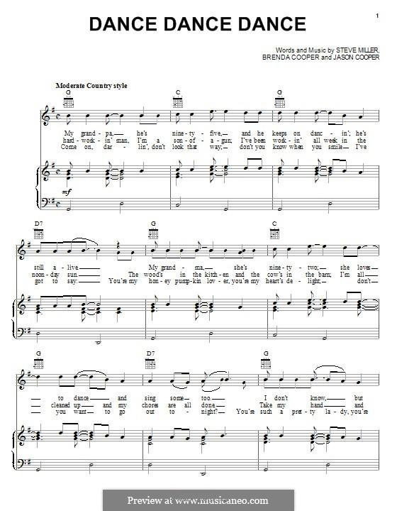 Dance Dance Dance (The Steve Miller Band): For voice and piano (or guitar) by Jason Cooper, Steve Miller, Brenda Cooper
