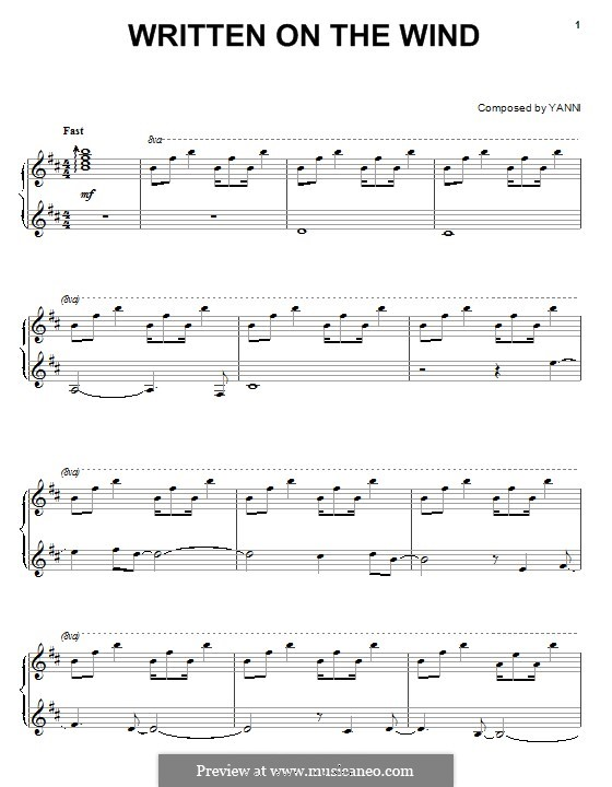 Written on the Wind: For piano by Yanni