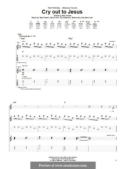 Cry Out to Jesus (Third Day): For guitar with tab by Brad Avery, Tai Anderson, David Carr, Mac Powell, Mark Lee