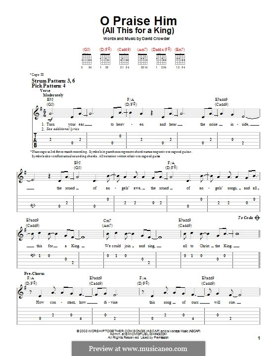O Praise Him (All This for a King): For guitar with tab by David Crowder