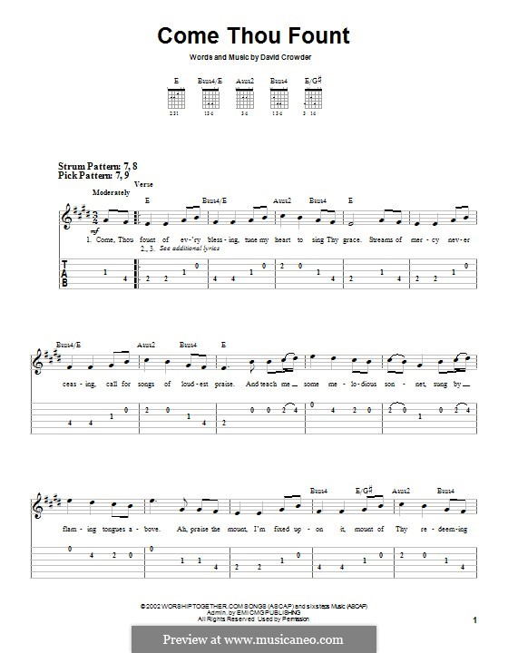 Come Thou Fount (David Crowder Band): For guitar with tab by David Crowder