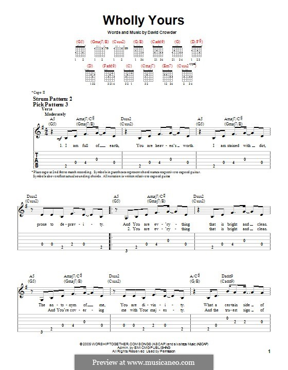 Wholly Yours (David Crowder Band): For guitar with tab by David Crowder