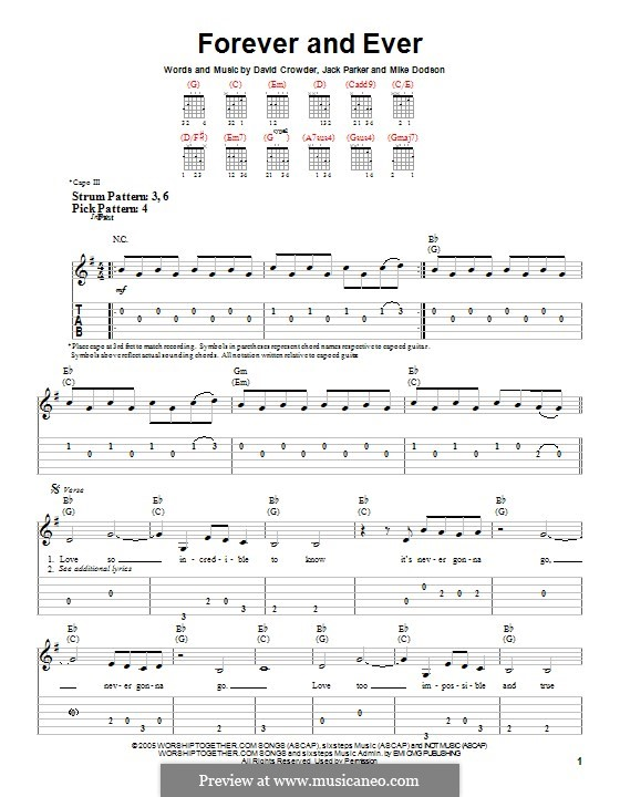 Forever and Ever (David Crowder Band): For guitar with tab by David Crowder, Jack Parker, Mike Dodson