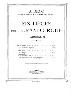Six Pieces for Organ: No.4 Elegy by Adhemar Decq