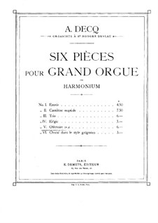 Six Pieces for Organ: No.5 Offertory by Adhemar Decq