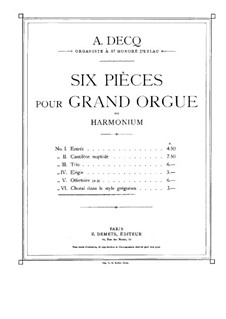 Six Pieces for Organ: No.6 Gregorian chant by Adhemar Decq