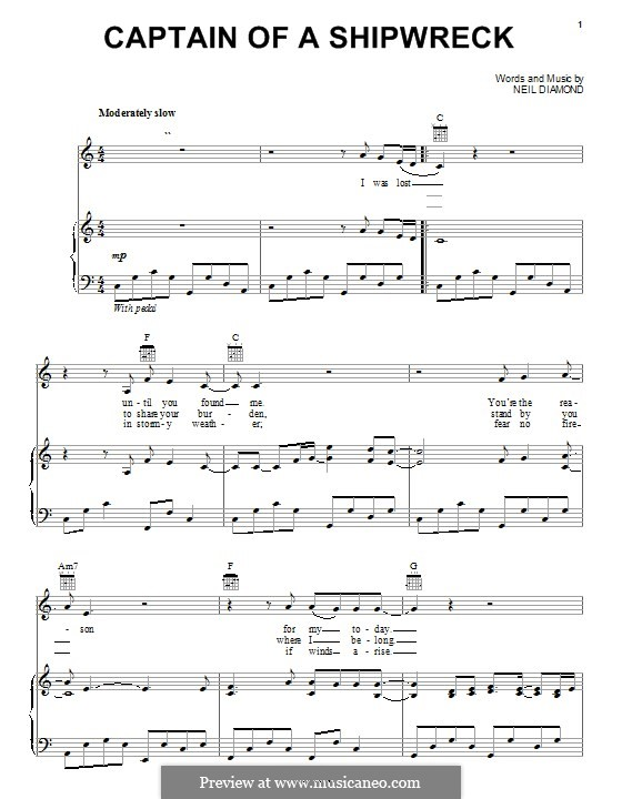 Captain of a Shipwreck: For voice and piano (or guitar) by Neil Diamond
