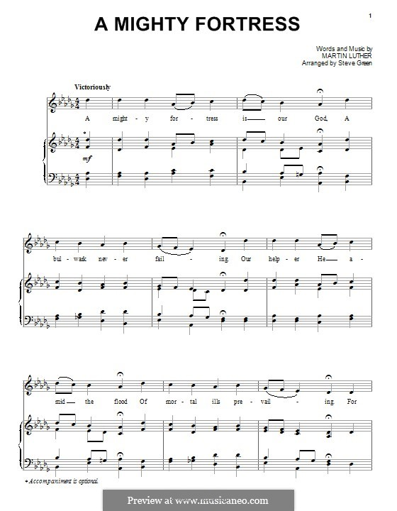 A Mighty Fortress Is Our God: For voice and piano (or guitar) by Martin Luther