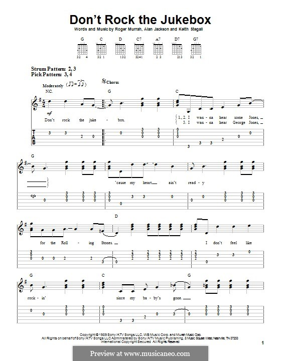 Don't Rock the Jukebox: For guitar with tab by Alan Jackson, Keith Stegall, Roger Murrah