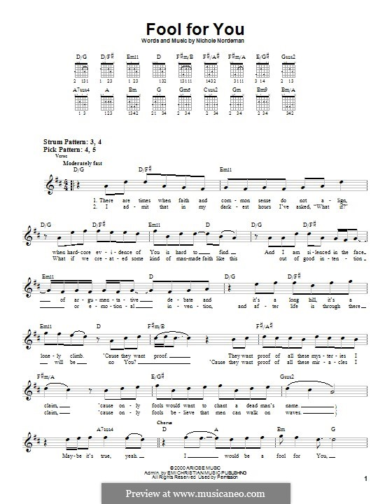 Fool for You: For guitar with tab by Nichole Nordeman
