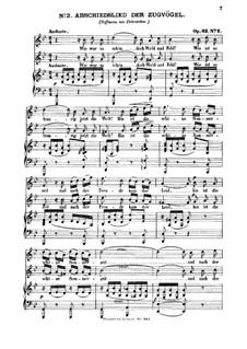 Six Songs, Op.63: Nr.2 Abschiedslied der Zugvögel by Felix Mendelssohn-Bartholdy